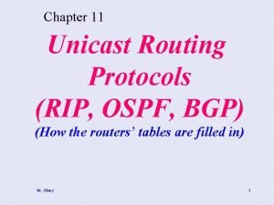 Chapter 11 Unicast Routing Protocols RIP OSPF BGP