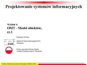 Projektowanie systemw informacyjnych Wykad 4 OMT Model obiektw