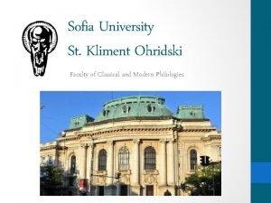 Sofia University St Kliment Ohridski Faculty of Classical