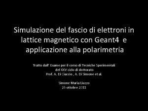 Simulazione del fascio di elettroni in lattice magnetico