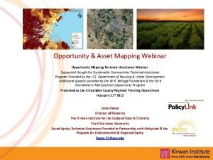 Opportunity Asset Mapping Webinar Opportunity Mapping Technical Assistance