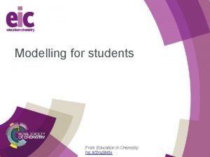 Modelling for students From Education in Chemistry rsc