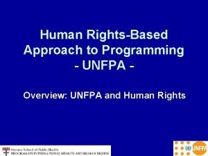 Human RightsBased Approach to Programming UNFPA Overview UNFPA