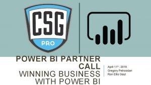 POWER BI PARTNER CALL WINNING BUSINESS WITH POWER