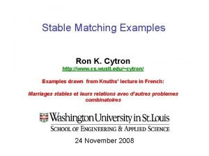 Stable Matching Examples Ron K Cytron http www