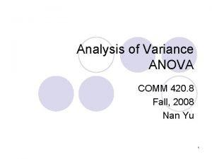 Analysis of Variance ANOVA COMM 420 8 Fall