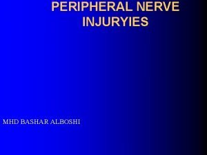 PERIPHERAL NERVE INJURYIES MHD BASHAR ALBOSHI Microscopic anatomy