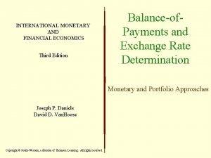 INTERNATIONAL MONETARY AND FINANCIAL ECONOMICS Third Edition Balanceof