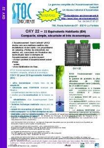 OXY 22 La gamme complte de lAssainissement Non