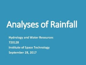 Analyses of Rainfall Hydrology and Water Resources 720128