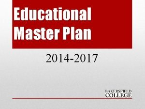 Educational Master Plan 2014 2017 OVERVIEW Educational Master