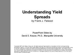 Understanding Yield Spreads by Frank J Fabozzi Power