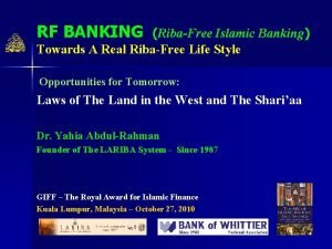 RF BANKING RibaFree Islamic Banking Towards A Real