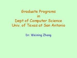 Graduate Programs in Dept of Computer Science Univ