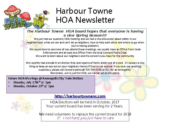 Harbour Towne HOA Newsletter The Harbour Towne HOA