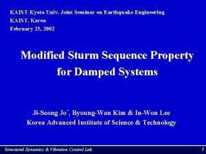 KAISTKyoto Univ Joint Seminar on Earthquake Engineering KAIST