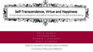 SelfTranscendence Virtue and Happiness A Psychological Investigation of