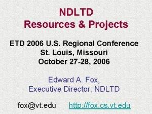 NDLTD Resources Projects ETD 2006 U S Regional