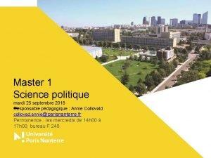 Master 1 Science politique mardi 25 septembre 2018