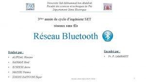 Universit Sidi Mohammed ben Abdellah Facult des sciences