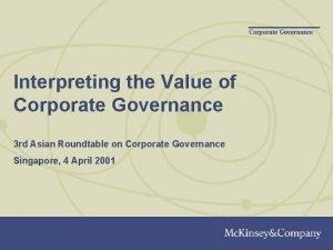 Corporate Governance Interpreting the Value of Corporate Governance