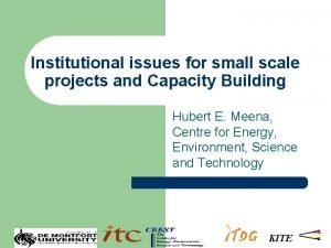 Institutional issues for small scale projects and Capacity