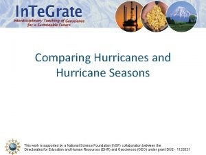 Comparing Hurricanes and Hurricane Seasons This work is