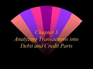 Chapter 3 Analyzing Transactions into Debit and Credit