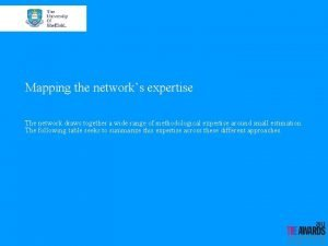 Mapping the networks expertise The network draws together