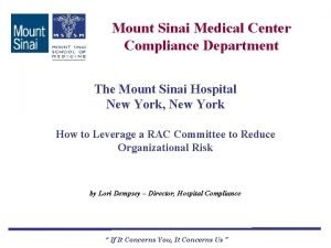 Mount Sinai Medical Center Compliance Department The Mount