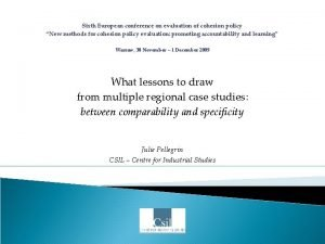 Sixth European conference on evaluation of cohesion policy