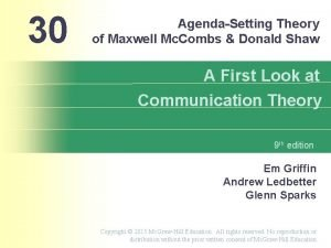 30 AgendaSetting Theory of Maxwell Mc Combs Donald
