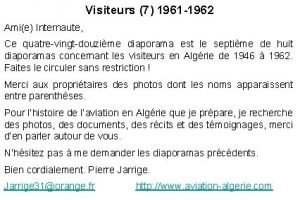Visiteurs 7 1961 1962 Amie Internaute Ce quatrevingtdouzime