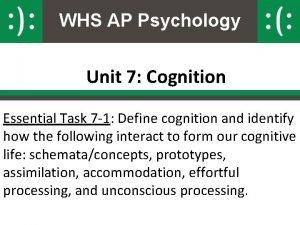 WHS AP Psychology Unit 7 Cognition Essential Task