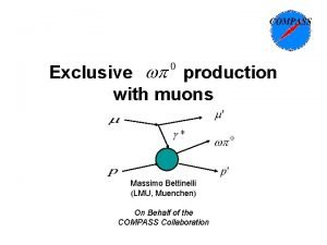 Exclusive production with muons Massimo Bettinelli LMU Muenchen