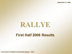 September 21 2006 RALLYE First Half 2006 Results
