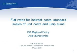 Flat rates for indirect costs standard scales of