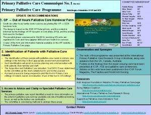 Primary Palliative Care Communiqu No 1 Nov 2012