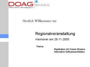 Herzlich Willkommen zur Regionalveranstaltung Hannover am 29 11