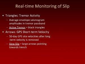Realtime Monitoring of Slip Triangles Tremor Activity Average