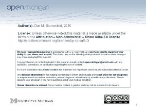 Authors Don M Blumenthal 2010 License Unless otherwise