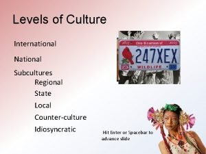 Levels of Culture International National Subcultures Regional State