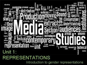 Unit 1 REPRESENTATIONS Introduction to gender representations Learning