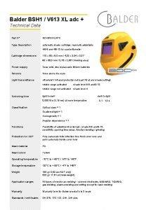 Balder BSH 1 V 613 XL adc Technical