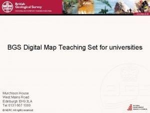 BGS Digital Map Teaching Set for universities Murchison