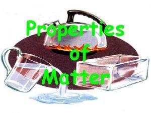 Properties of Matter Please Answer the following Properties