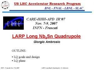 BNL FNAL LBNL SLAC CAREHHHAPD IR 07 Nov