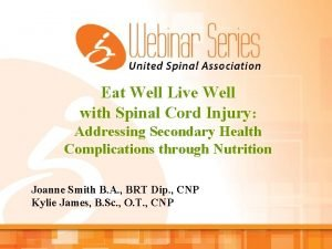 Eat Well Live Well with Spinal Cord Injury