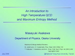An Introduction to High Temperature QCD and Maximum