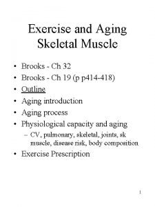 Exercise and Aging Skeletal Muscle Brooks Ch 32